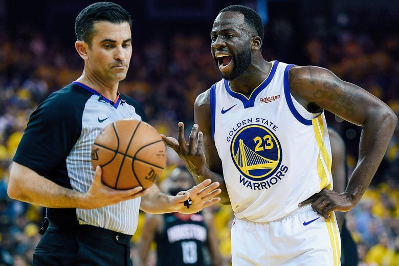Draymond Green yelling at a ref.