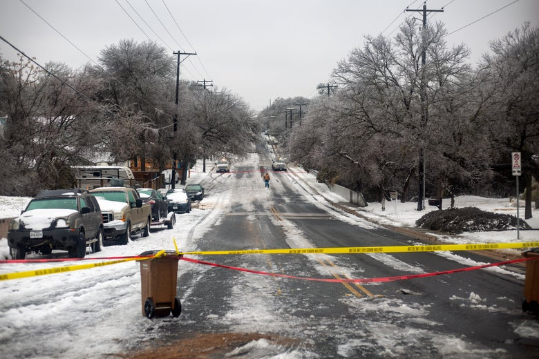 The road is blocked off because of a gas leak in East Austin. Millions of Texans are still without water and electric as winter storms continue.