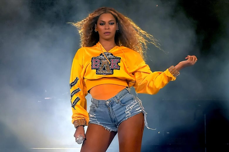 Beyonce on stage at Coachella.