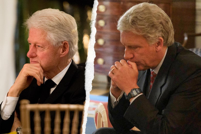 Clinton holds his chin in his hand at an event. Clive Owen, as Clinton, rests his head on his hands.