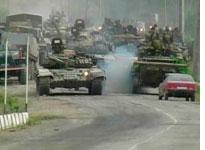 Russian tanks move toward South Ossetia capital. Click image to expand.