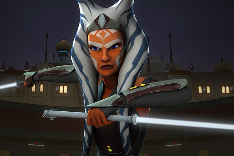 In a 3D animated style, Ahsoka Tano, now with longer head-tails and a more elongated face, poses with two white lightsabers.