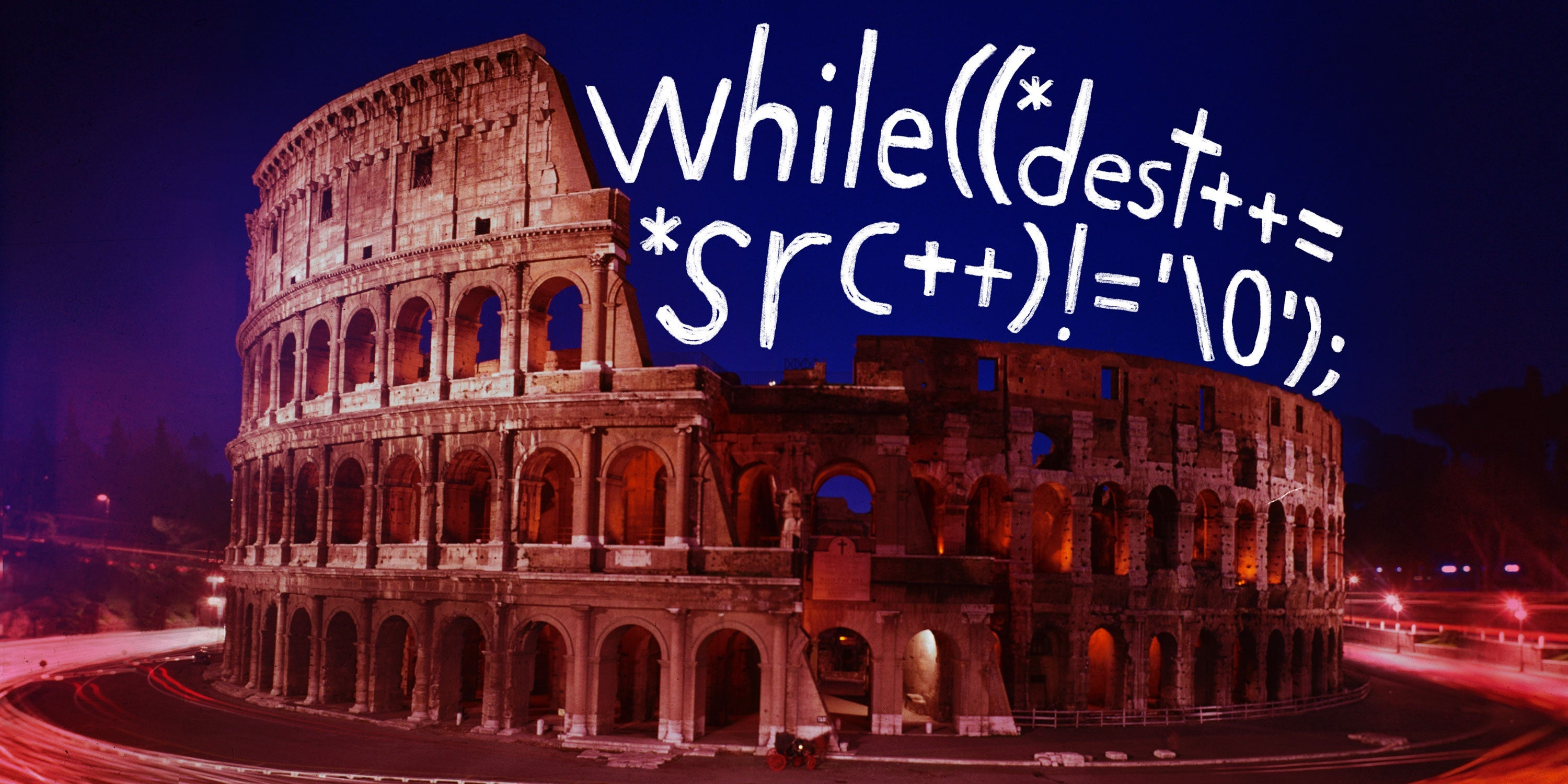 The colliseum overlaid with code.