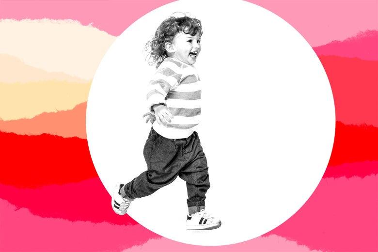 A toddler gleefully running around
