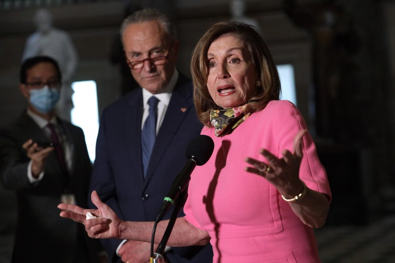 House Speaker Nancy Pelosi and Senate Minority Leader Chuck Schumer speak to the press after a meeting with Treasury Secretary Steven Mnuchin and White House Chief of Staff Mark Meadows at the U.S. Capitol on August 7, 2020 in Washington, DC.