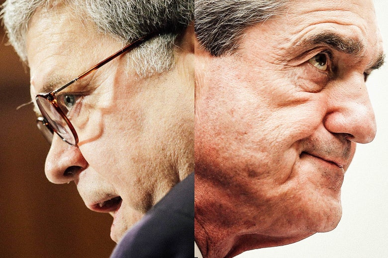 Diptych of Barr and Mueller looking in opposite directions.