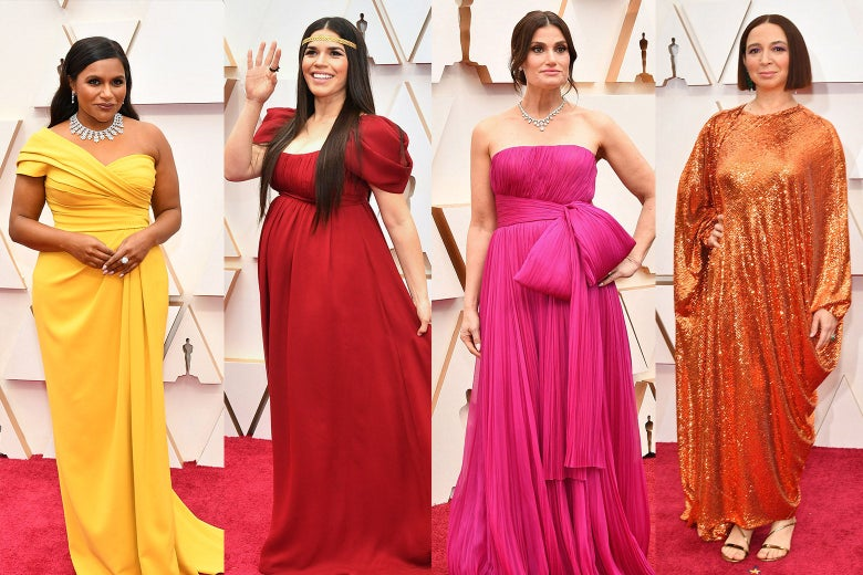 Collage of Mindy Kaling, America Ferrera, Idina Menzel, and Maya Rudolph wearing bright colors on the red carpet at the Oscars.