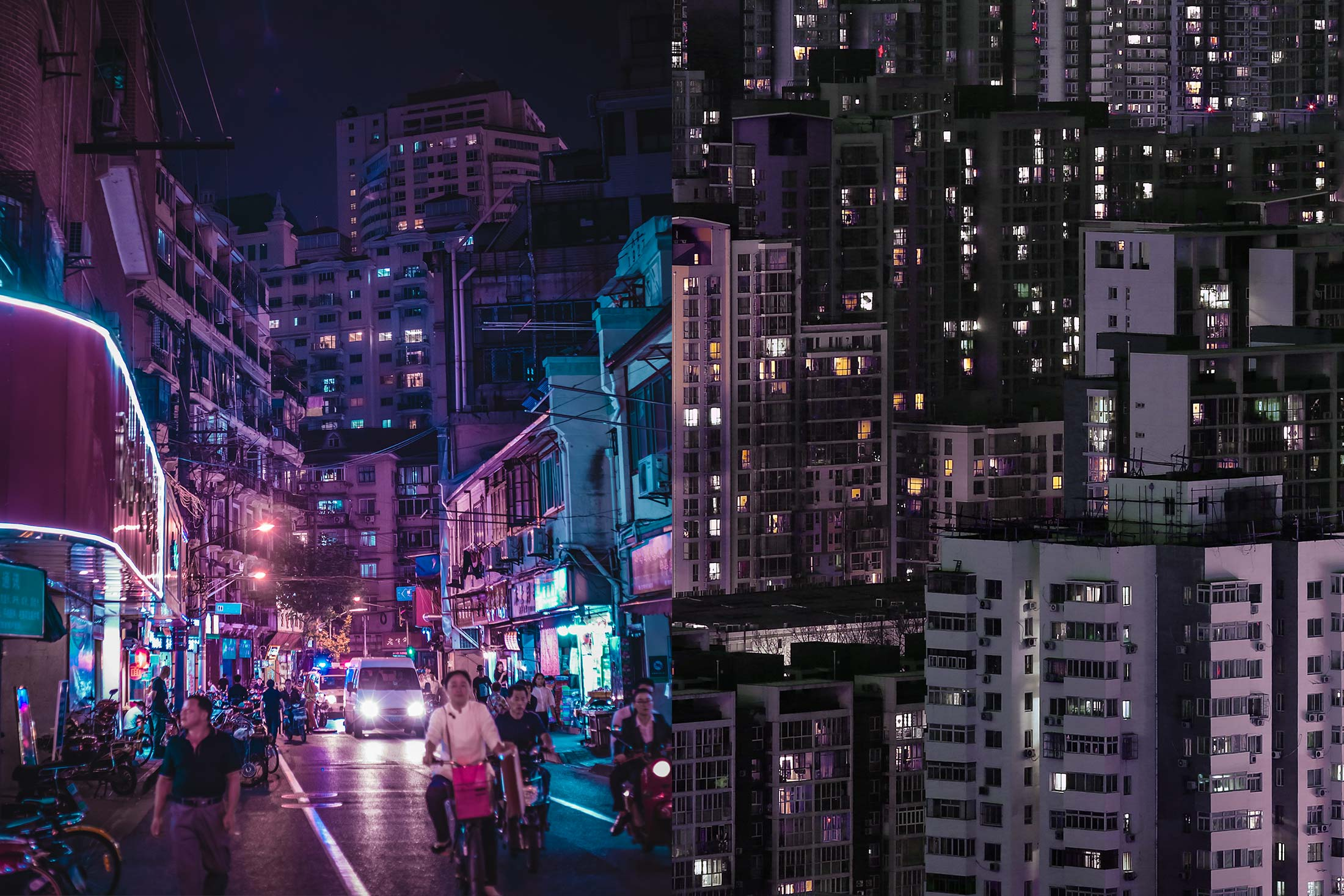 A diptych of Shanghai's streets and Beijing's skyline.
