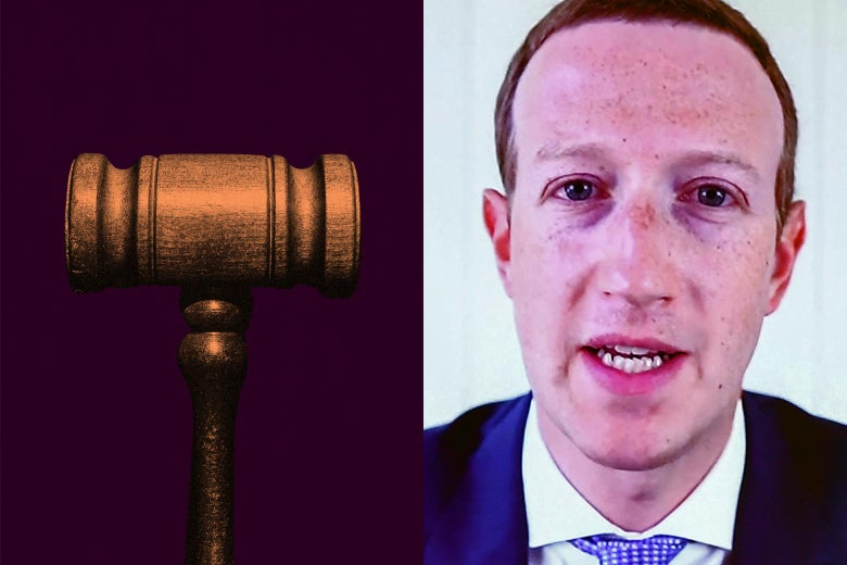 On the left, a gavel; on the right, a close-up of Mark Zuckerberg.
