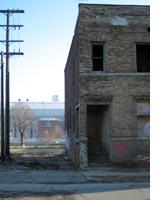 The neighborhood around Ford Field (in background) hasn't seen much economic development. Click image to expand.
