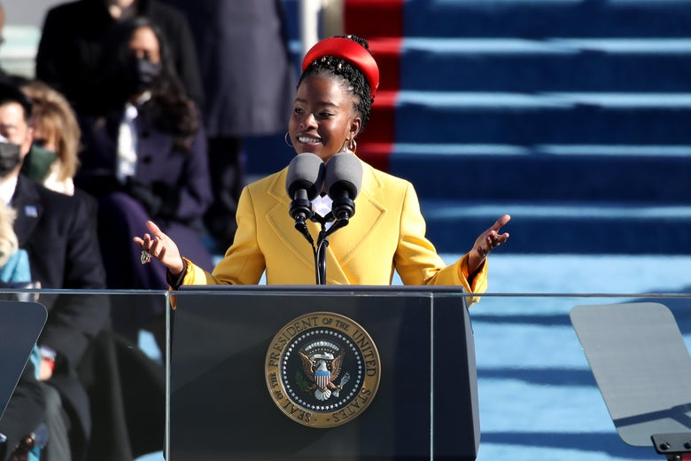 Youth Poet Laureate Amanda Gorman speaks during the inauguration of President Joe Biden on the West Front of the U.S. Capitol on January 20, 2021 in Washington, D.C.