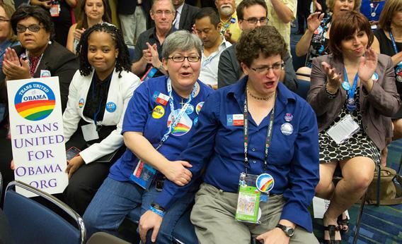 Members of the LGBT caucus at the 2012 Democratic National Convention in Charlotte, NC.