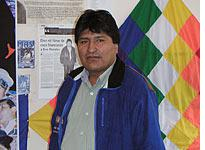 Evo Morales in his office at the MAS headquarters in Cochabamba