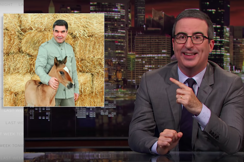 John Oliver Taunts the Horse-Loving, Human Rights-Violating President of Turkmenistan With a Giant Cake