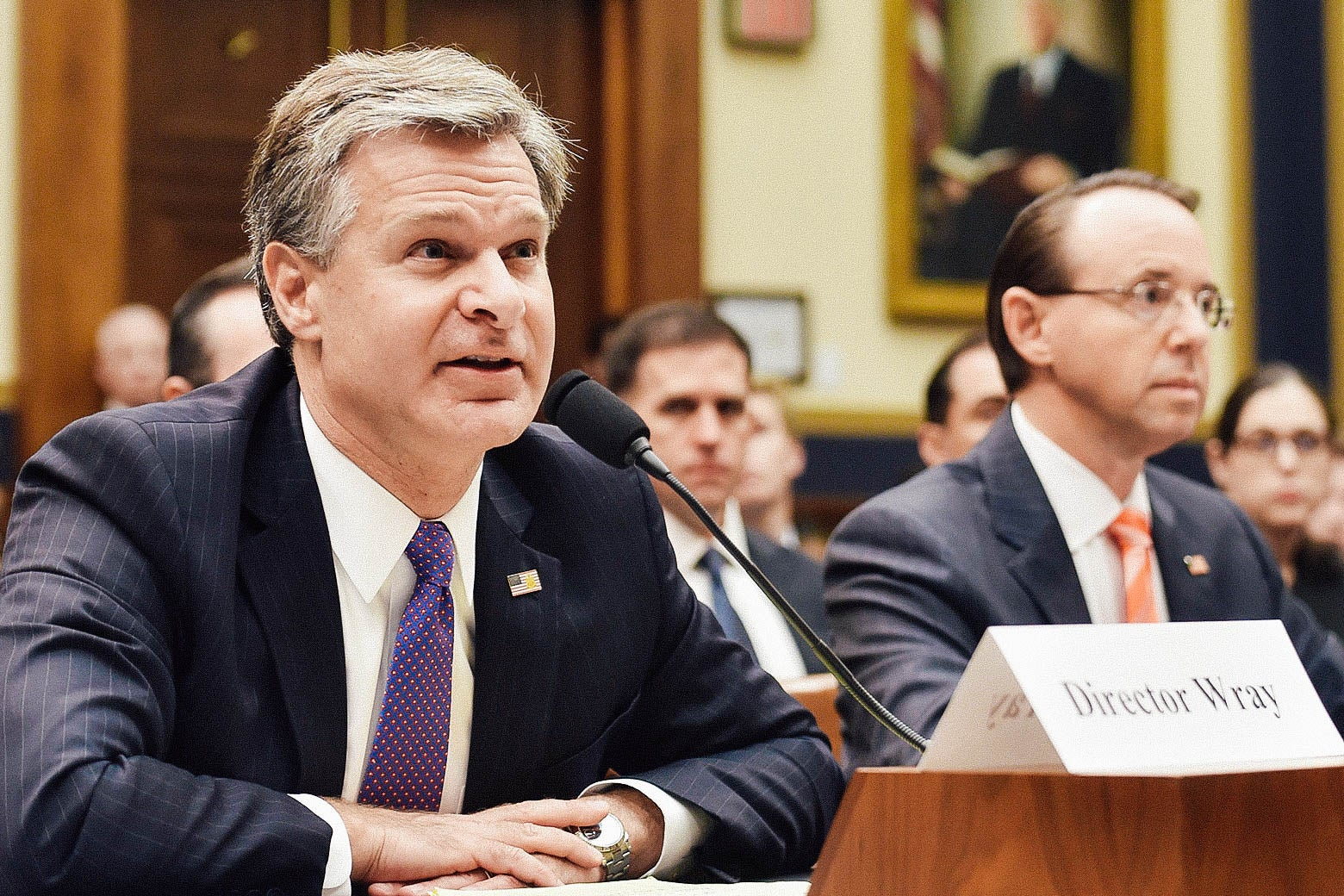 Christopher Wray and Rod Rosenstein at a House hearing.