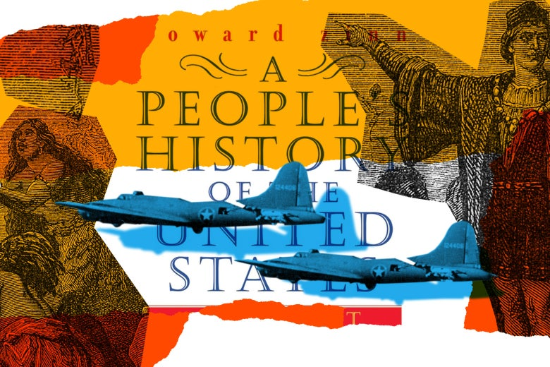 A People's History of the United States book cover with Air Force aircraft and historical illustrations.