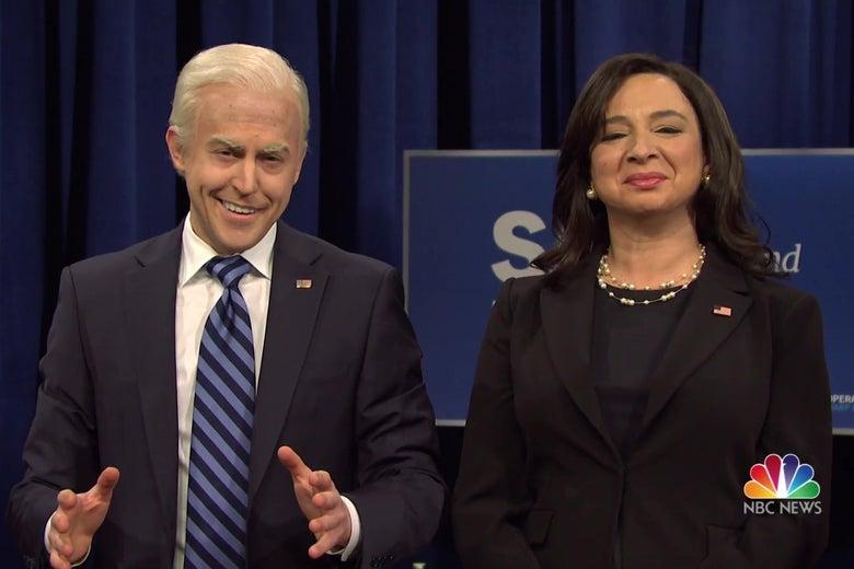 Alex Moffat as Joe Biden, and Maya Rudolph as Kamala Harris, in a still from SNL.