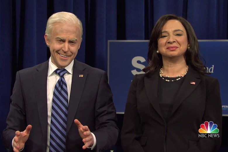 Alex Moffat as Joe Biden, and Maya Rudolph as Kamala Harris, in a still from SNL.