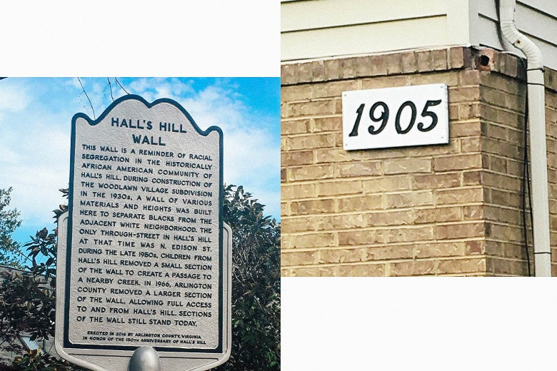 A historical marker telling the story of the Hall's Hill wall, built to separate North Arlington's black neighborhood from the white neighborhood.