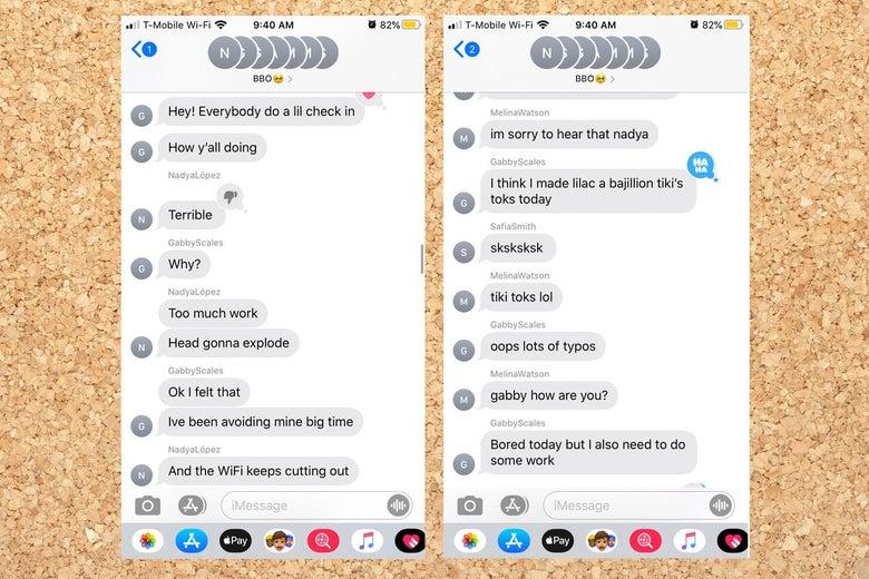 A screenshot of text messages.