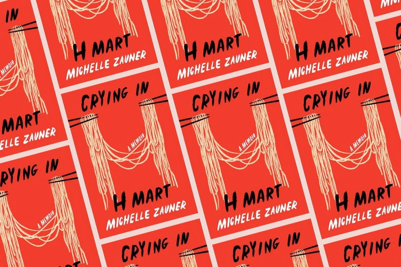 Collage of Crying in H Mart book cover, which features two pairs of chopsticks holding noodles between them