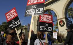 WGA members on strike in 2007 at Paramount Pictures studio in Los Angeles.