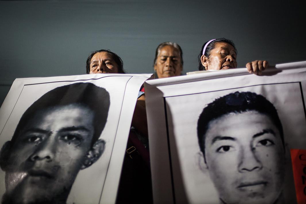 Parents of the 43 missing students attend the third protest on November 5, 2014 in Mexico City.