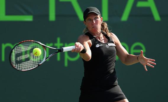 Lisa Raymond of the USA plays a forehand during her doubles match at the Sony Open.