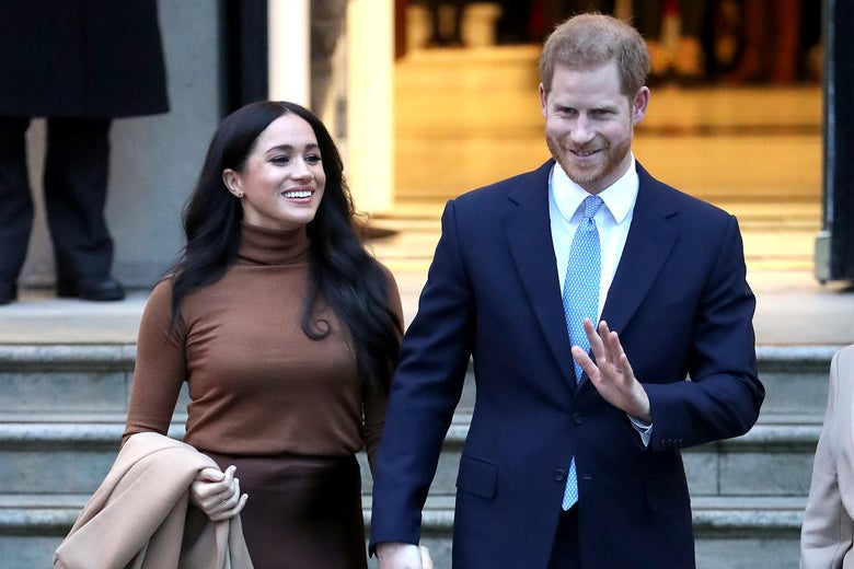 Prince Harry, Duke of Sussex and Meghan, Duchess of Sussex depart Canada House on January 7, 2020 in London, England.
