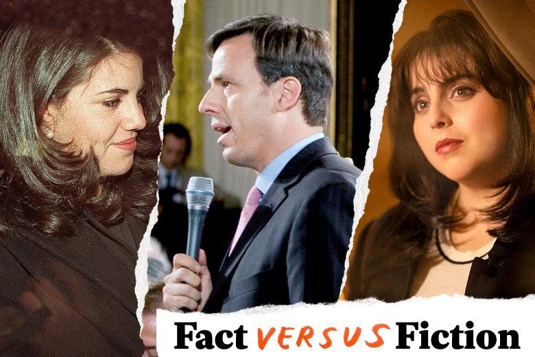 Monica Lewinsky, Jake Tapper, and Beanie Feldstein as Lewinsky.