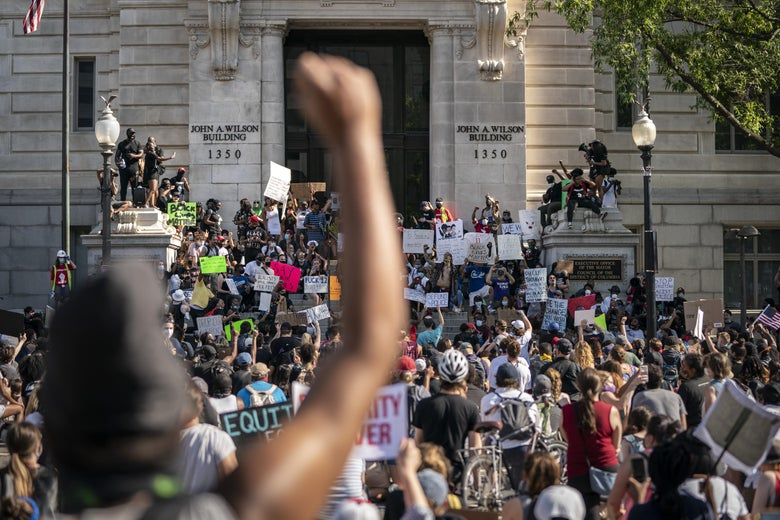 Demonstrators gather at Freedom Plaza as they protest against police brutality and racism on June 6, 2020 in Washington, D.C.