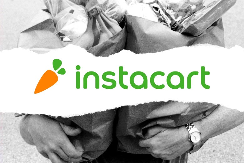 Instacart logo overlaid on a photo of a person holding bags of groceries.