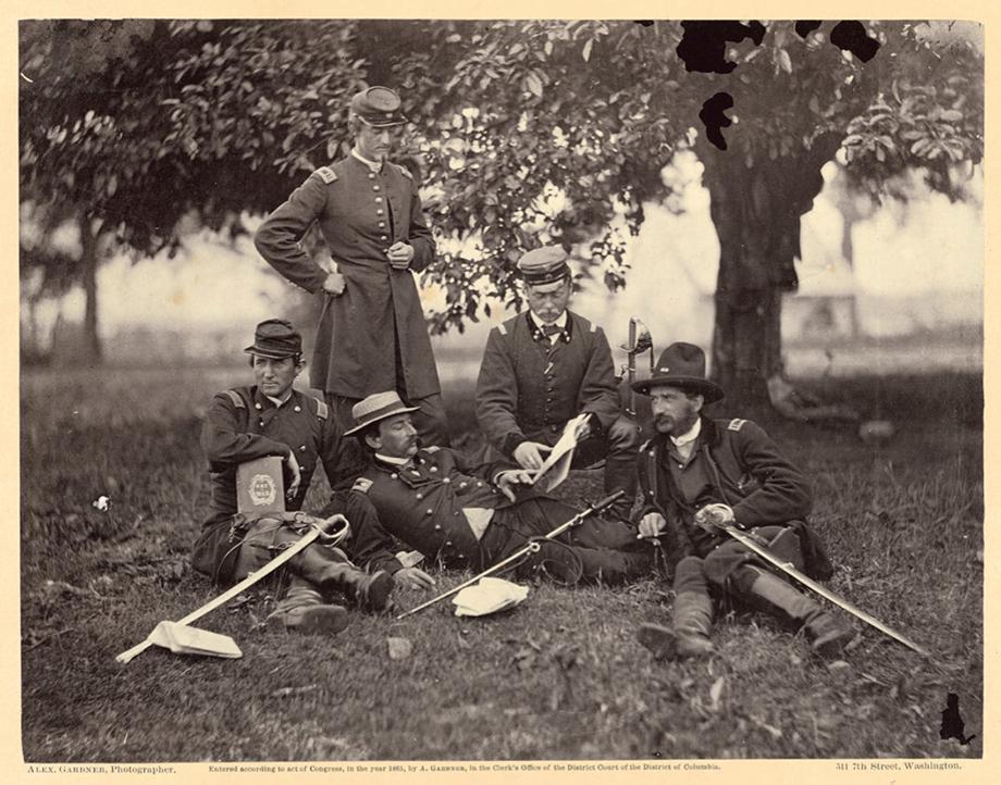 Studying the Art of War, Fairfax Court-House [Virginia], June 1863. Albumen silver print