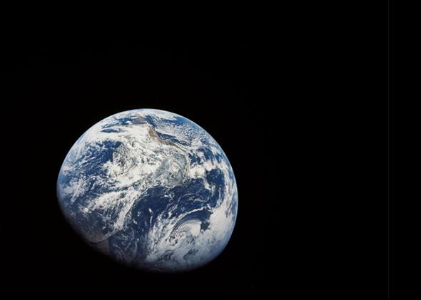 Earth seen from the Apollo 8 mission, December 1968.