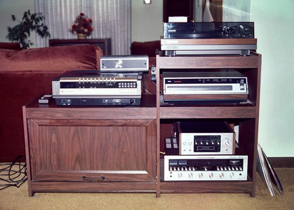 Cable TV tuner box, Betamax player (with wired remote), turntable, RCA select-a-vision video disc player, 8 track player, receiver, around 1987.