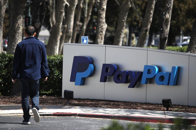 A PayPal sign is posted outside of the company's headquarters.