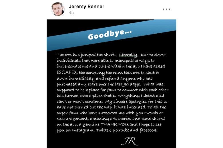 Jeremy Renner's goodbye post on the official Jeremy Renner app.