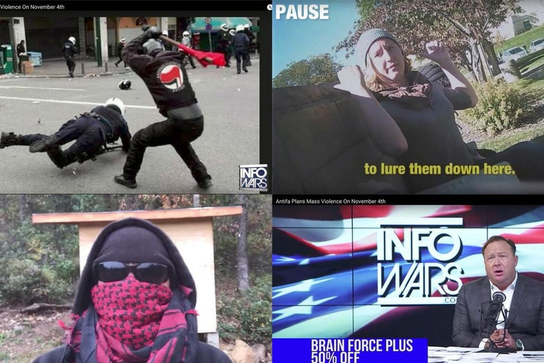 "Screenshots from four videos are seen. On the top left is someone about to strike another person with a stick. Bottom left, a person donning sunglasses, a scarf, and a hood. Bottom right, Alex Jones is on Infowars hawking ""Brain Force."" Top right, a woman speaks to a person and points behind her."
