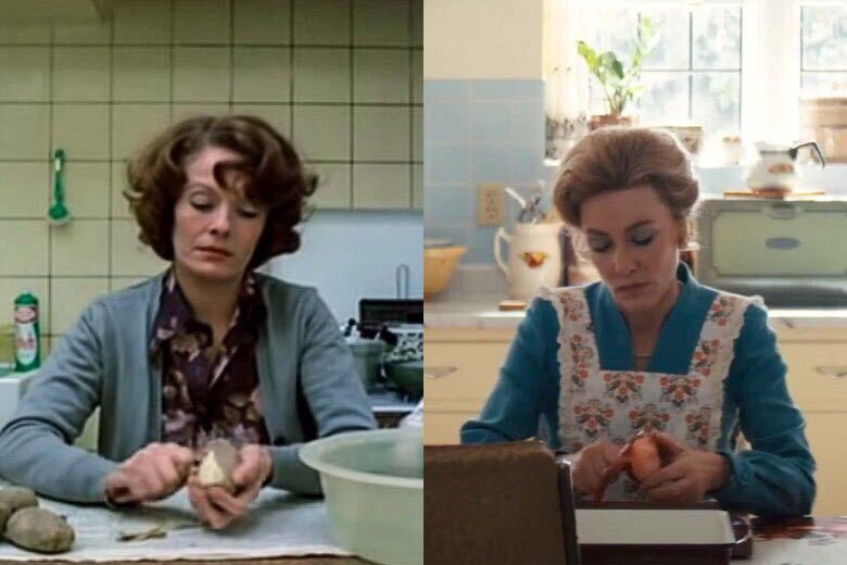 On the left, Jeanne Dielman peels a potato. On the right, Phyllis Schlafly peels an apple. The two images are strikingly similar, with the women seated, dressed in blue-gray, against the tile of their kitchens, centered facing the audience.
