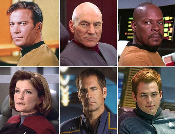 Original Series (Shatner), Next Generation (Patrick Stewart), Deep Space Nine (Avery Brooks), Voyager (Kate Mulgrew), Enterprise (Scott Bakula), new movies (Chris Pine).