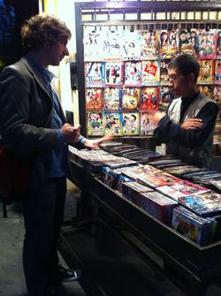 Shopping for bootleg DVDs on Shanxi Road in Shanghai.