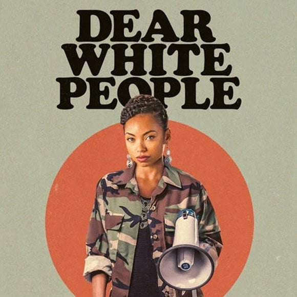 Title card for Dear White People, featuring a character holding a megaphone.