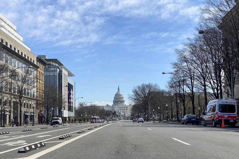 The Capitol as seen at the end of Pennsylvania Avenue.