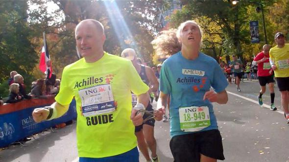 Jonathan Stenger and Amelia Dickerson nearing the finish line of the New York City Marathon.