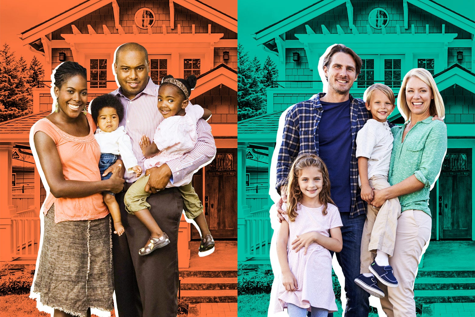 Diptych of a black family in front of a suburban house and a white family in front of the same suburban house.