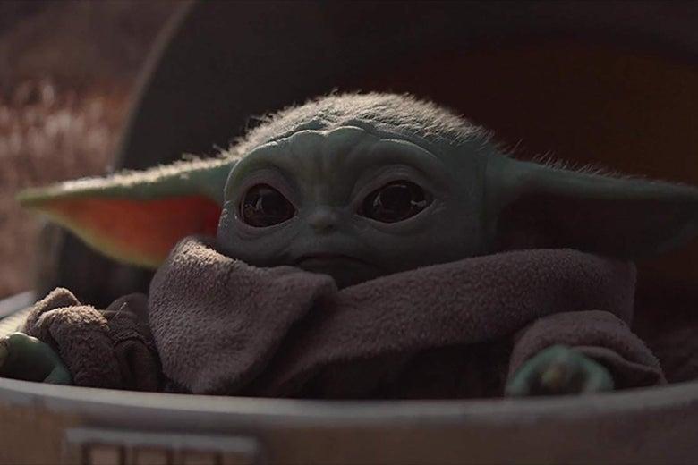 Baby Yoda in Pram