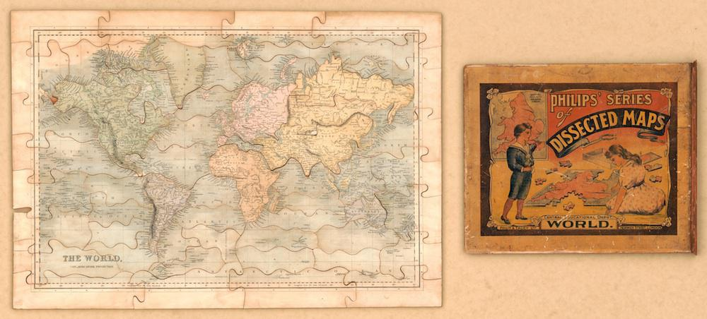 History of puzzles: Maps used to teach geography in the 19th century.