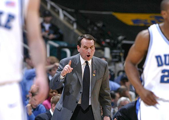 Duke coach Mike Krzyzewski during his team's loss to Louisiana State University on March 23, 2006, in Atlanta, during regional action of the NCAA Tournament.