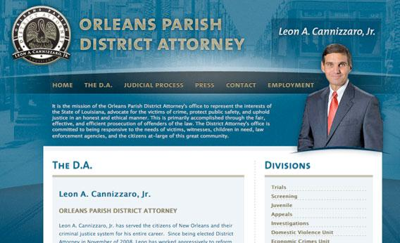 Screengrab of the New Orleans District Attorney's website, http://orleansda.com/the-d-a/