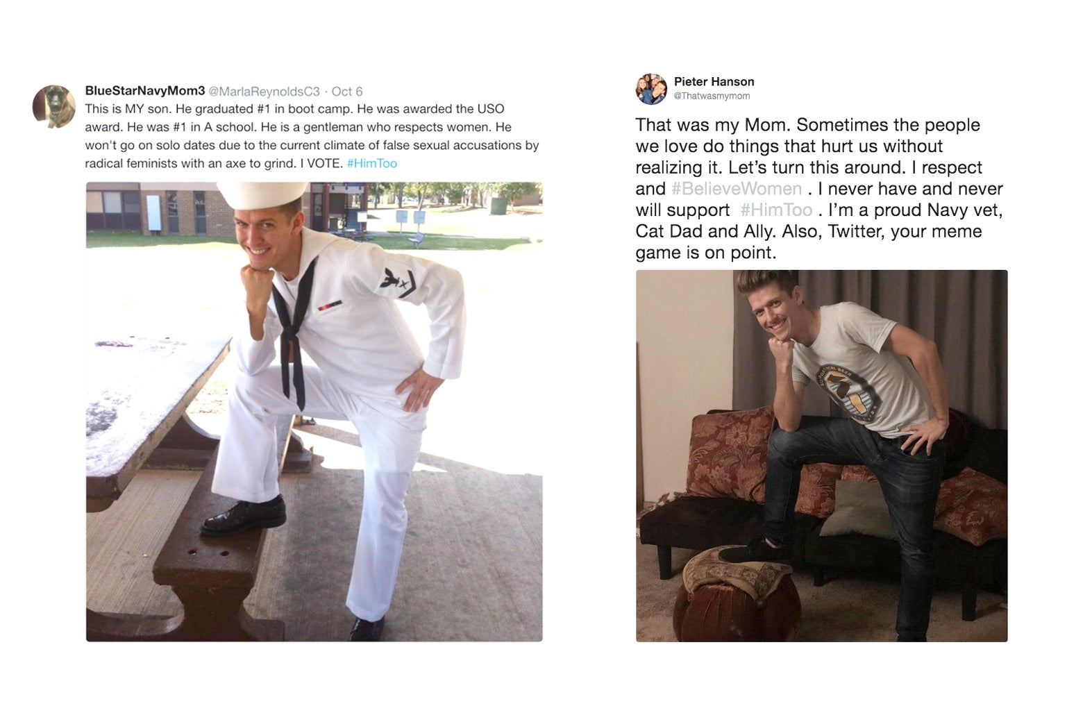 Screenshots of the original tweets side by side.